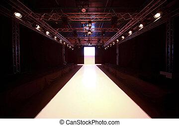 vista, antes, exhibición, brillado, frente, podio, principio...