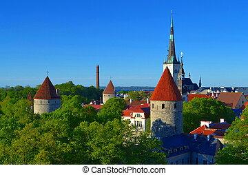 vista, antigas, tallinn, estónia, town.