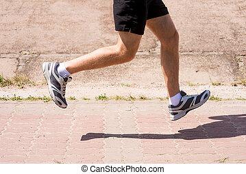 vista, ao ar livre, imagem, lado, run., corrida homem, close-up