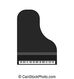vista., arte, clássico, furniture., equipamento, topo, sinfônico, grandioso, instrumento, vetorial, pretas, acima, teclado, música, piano, símbolo, ícone
