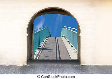vista, através, um, archway