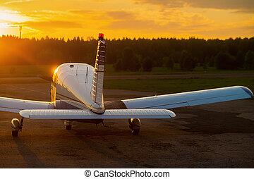 vista, avión, trasero, cuádruple, privado, propulsor, fondo...