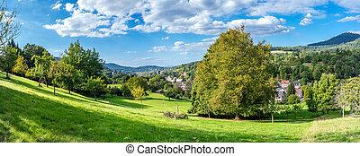 vista, baden-baden., panorâmico, floresta preta, europe., ...