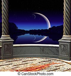vista, balcón, noche