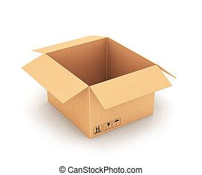 vista., cartón, box., frente