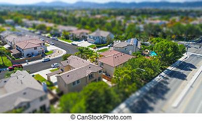 vista, casas, poblado, aéreo, tilt-shift, neigborhood, mancha