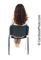 vista, chair., costas, bonito, sentando, mulher, jovem