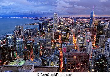 vista, chicago, panorama, aéreo, contorno