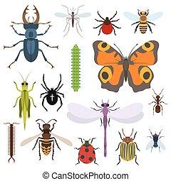 vista, cima, iconos, conjunto, insectos