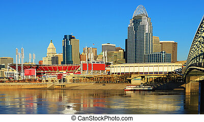 vista, cincinnati, contorno, con, ohio river