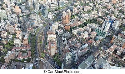 vista, ciudad, chile, americas., santiago, aéreo, ciudades, país, bien, más grande, capital, uno, summer.