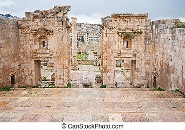 vista, ciudad, gerasa, por, templo, jerash, antiguo, artemis...
