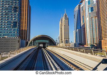 vista, ciudad, metro., coche, metro, dubai