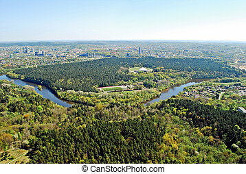 vista, ciudad, vilnius, aéreo, lituania, capital