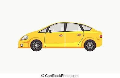 vista, coche, sedán, lado