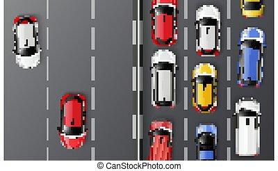 vista, composizione, traffico, cima