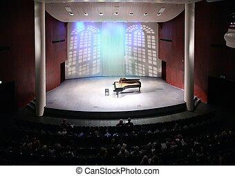 vista, concert salão, cena