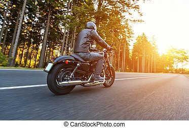 vista, conductor, camino trasero, motocicleta