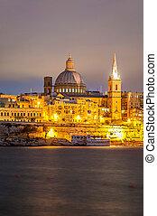 vista, contorno, seafront, malta, valletta