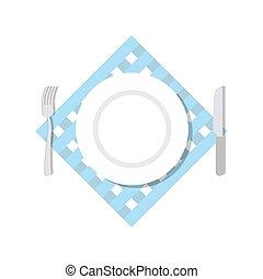 vista., cubiertos, cuchillo, ilustración, tenedor, napkin., placa, acostado, fondo., blanco, cima, vector, blanco