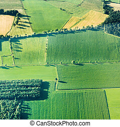 vista, cuestas, campos, aéreo, verde