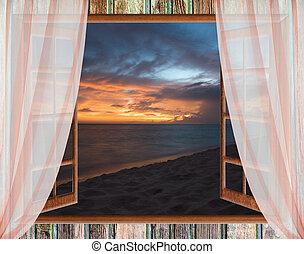 vista, da, il, finestra aperta, di, il, caraibico, tramonto