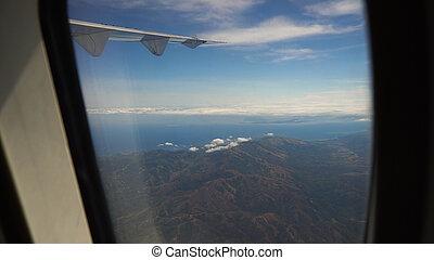 vista, da, un, finestra aeroplano, su, il, ocean.