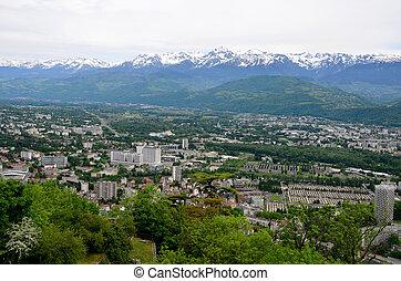 vista, de, a, alps-europe, montanha, em, grenoble, cidade, france.