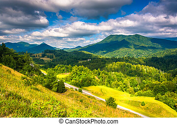 vista, de, a, appalachians, de, montanha calva, cume,...