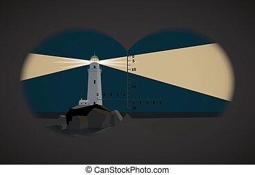 vista, de, a, binóculos, ligado, farol, wuth, pedras, à noite, em, a, mar