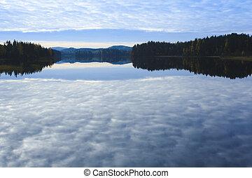 vista, de, a, lago