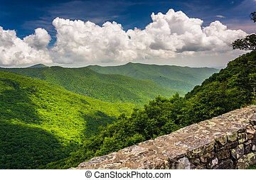 vista, de, a, montanhas appalachian, de, a, avenida cume azul, n