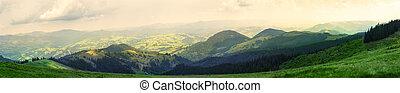 vista, de, a, montanhas, de, a, prado verde