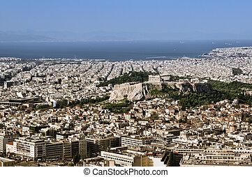vista, de, acrópolis, de, lykavittos, colina