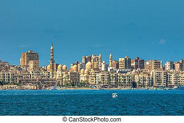 vista, de, alejandría, puerto, egipto