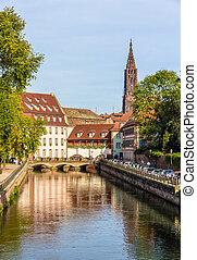 """vista, de, catedral strasbourg, em, a, """"petite, france"""", área"""