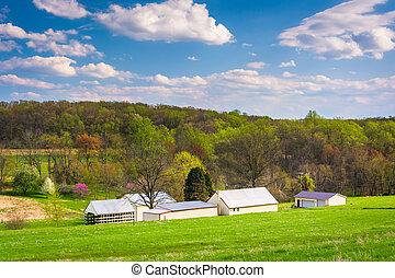 vista, de, edificios, en, un, granja, en, rural, york, condado, pennsylvania.