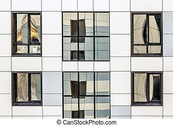vista, de, el, fachada, y, windows, de, un, moderno, rascacielos