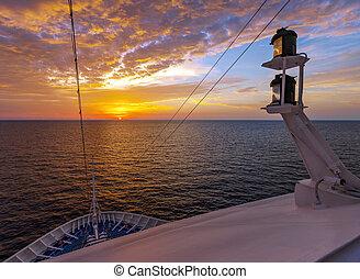 vista, de, el, salida del sol, de, el, cubierta, de, un, trazador de líneas del pasajero