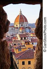 vista, de, florença, de, a, arnolfo, torre, de, palazzo...