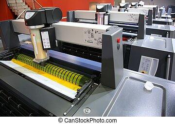 vista, de, impreso, equipo