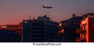 vista, de, jato, airliner, vôo, em, cidade