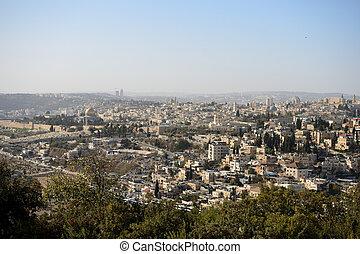 vista, de, jerusalém, em, a, começo matutino, israel