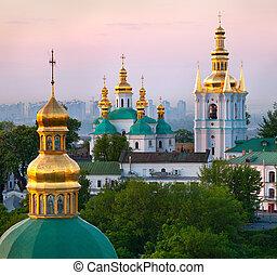 vista, de, kiev, pechersk, lavra, ortodoxo, mosteiro,...