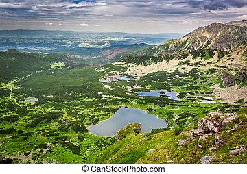 vista, de, lago montanha, de, a, topo, em, verão