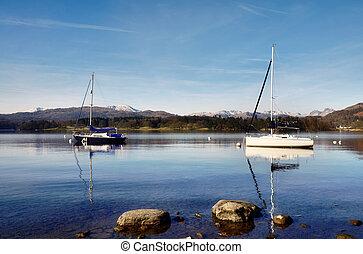 vista, de, lago, windermere, com, dois, barcos