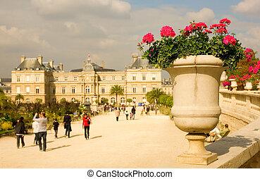 vista, de, luxemburgo, jardín, en, parís, francia