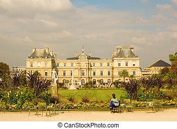 vista, de, luxemburgo, palacio, en, el, luxemburgo, jardín, parís, francia