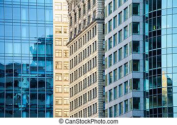 vista, de, luz del sol, entre, rascacielos