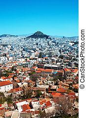 vista, de, lycabettus, colina, de, el, acropolis.